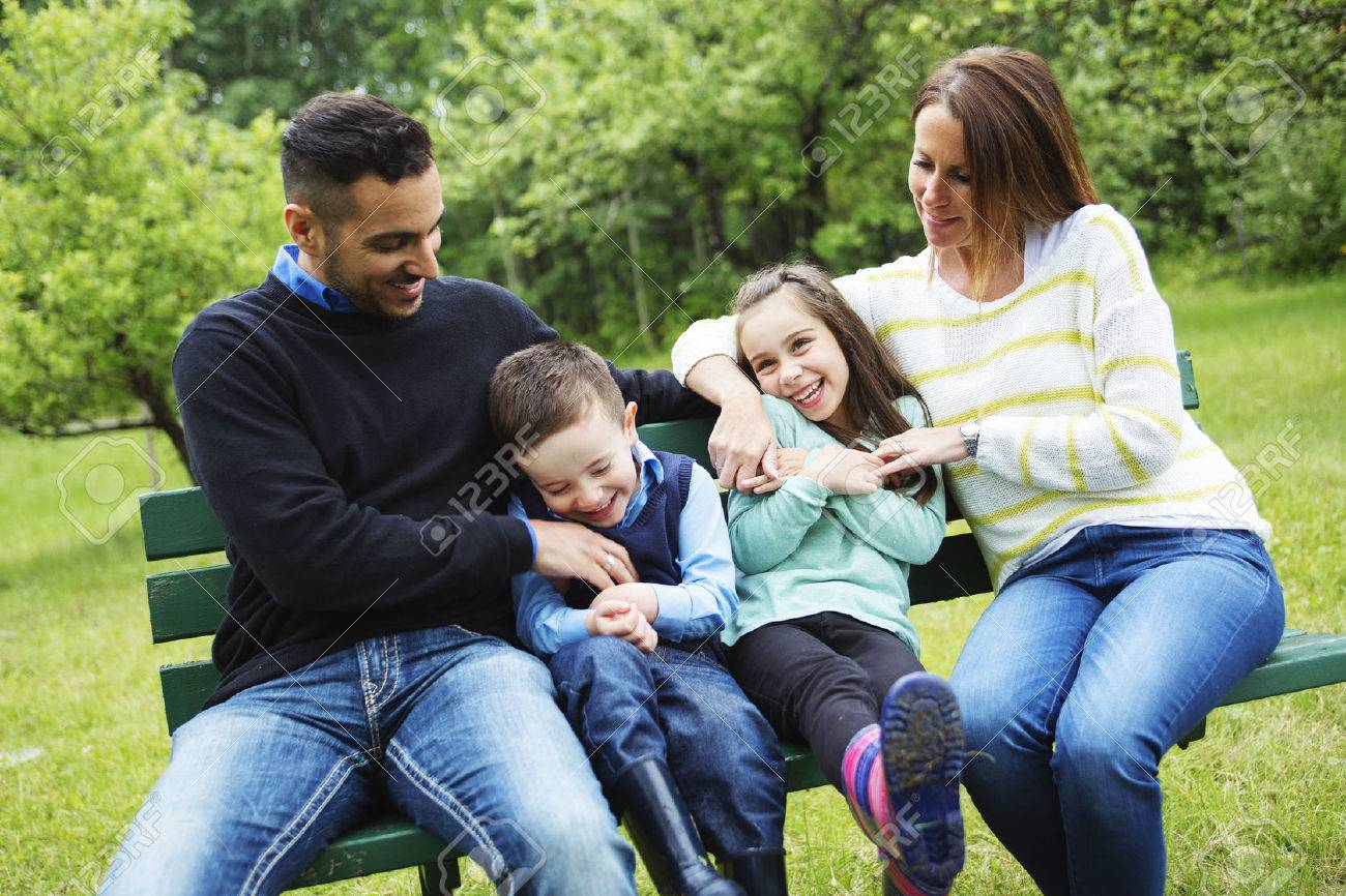 A family in forest having fun together - 50286954