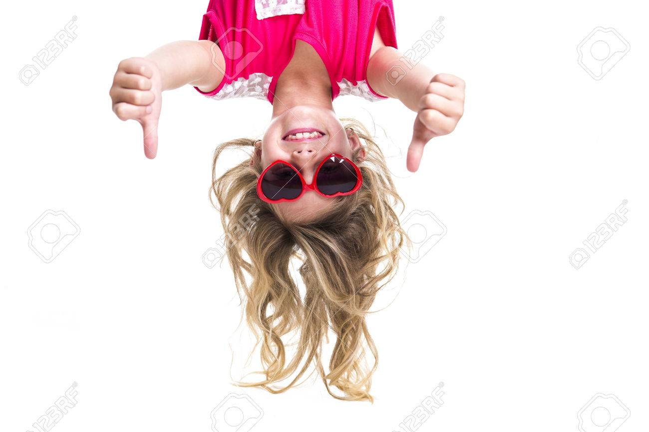 A Little girl with upside down head - 47434858
