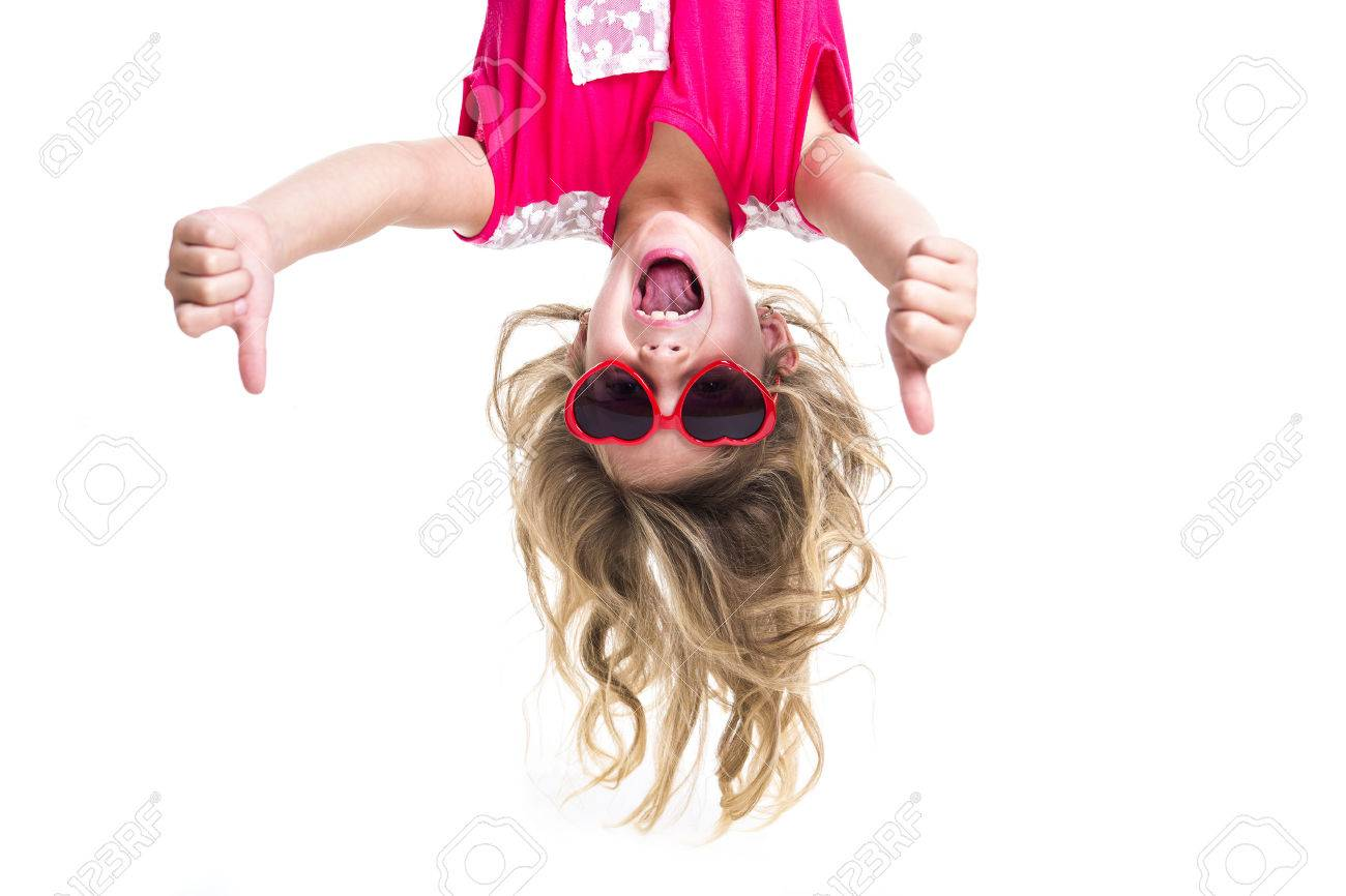 A Little girl with upside down head - 47434859