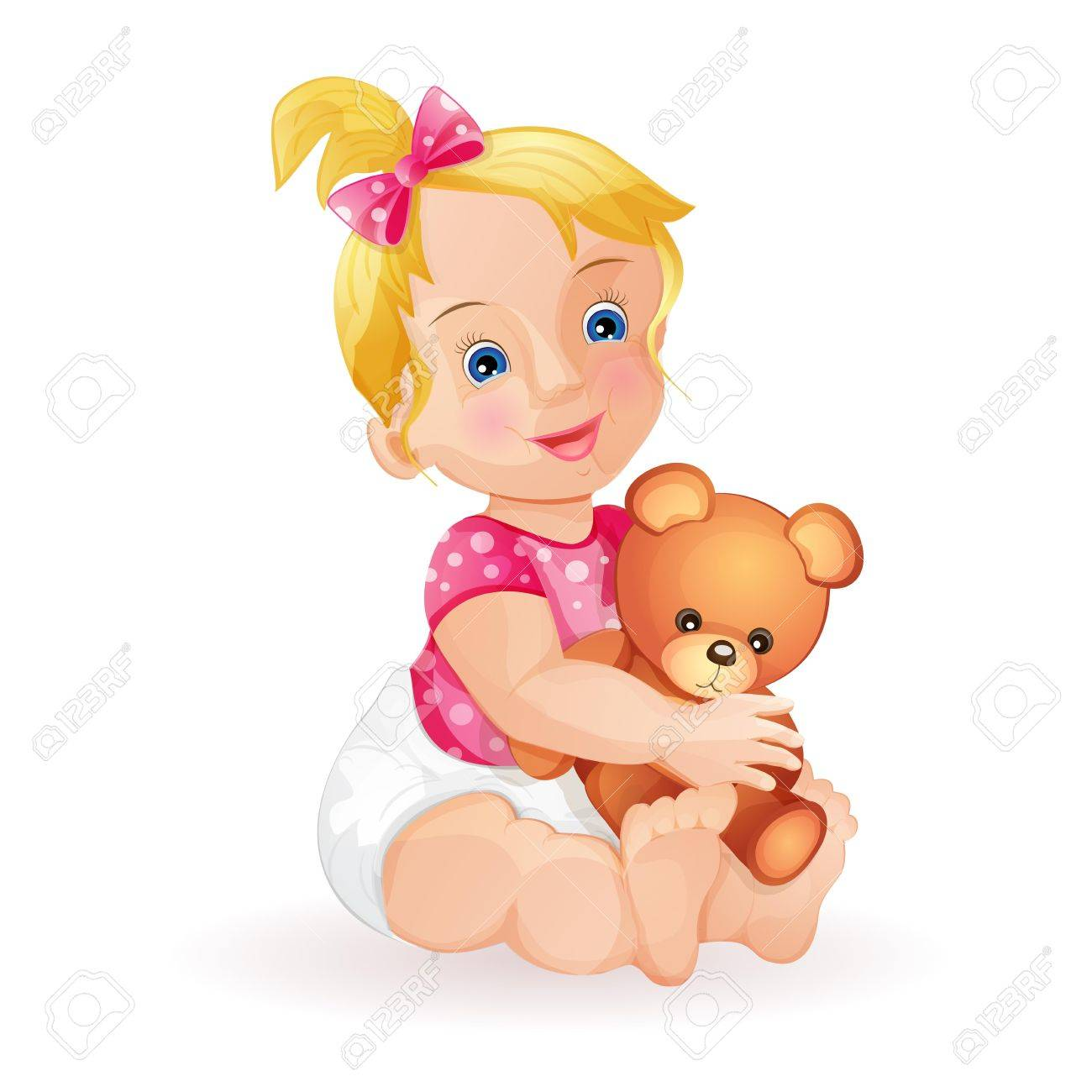 Cute baby girl holding teddy bear isolated on white Stock Vector - 15649749