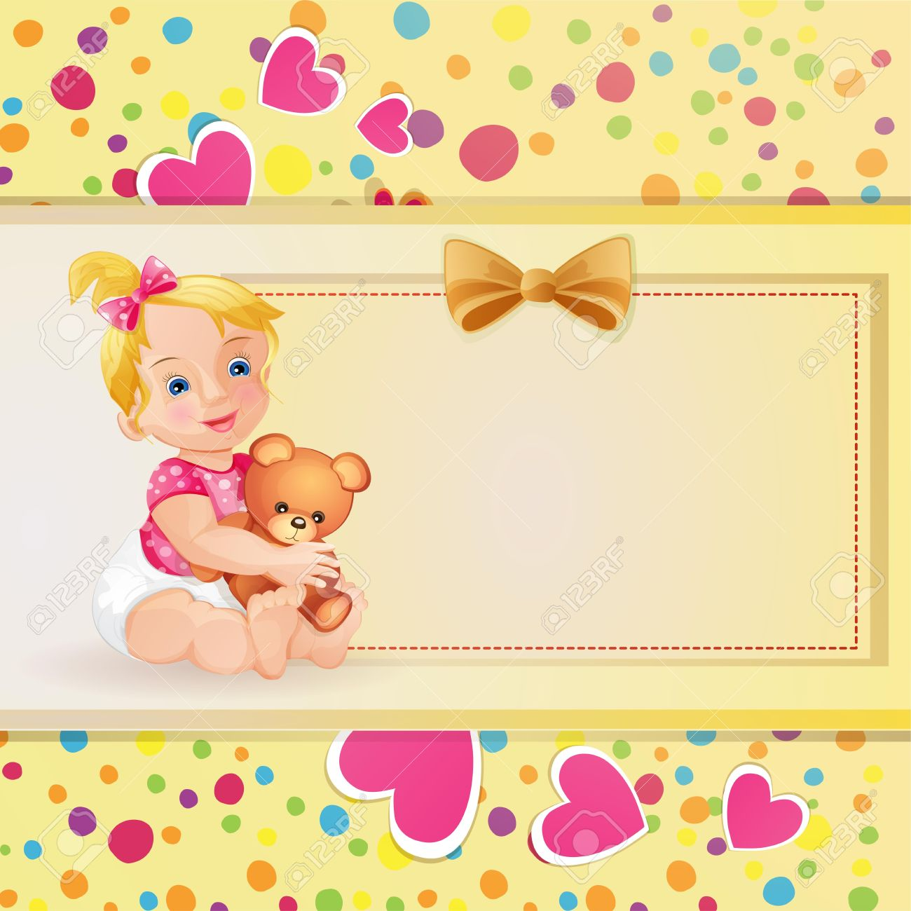 baby shower card with cute baby girl stock vector