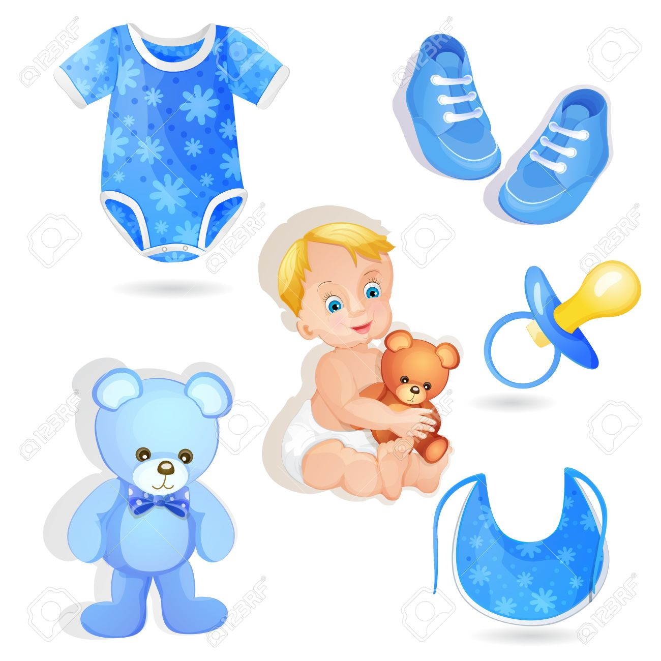 Set of elements for a baby boys Stock Vector - 16006023
