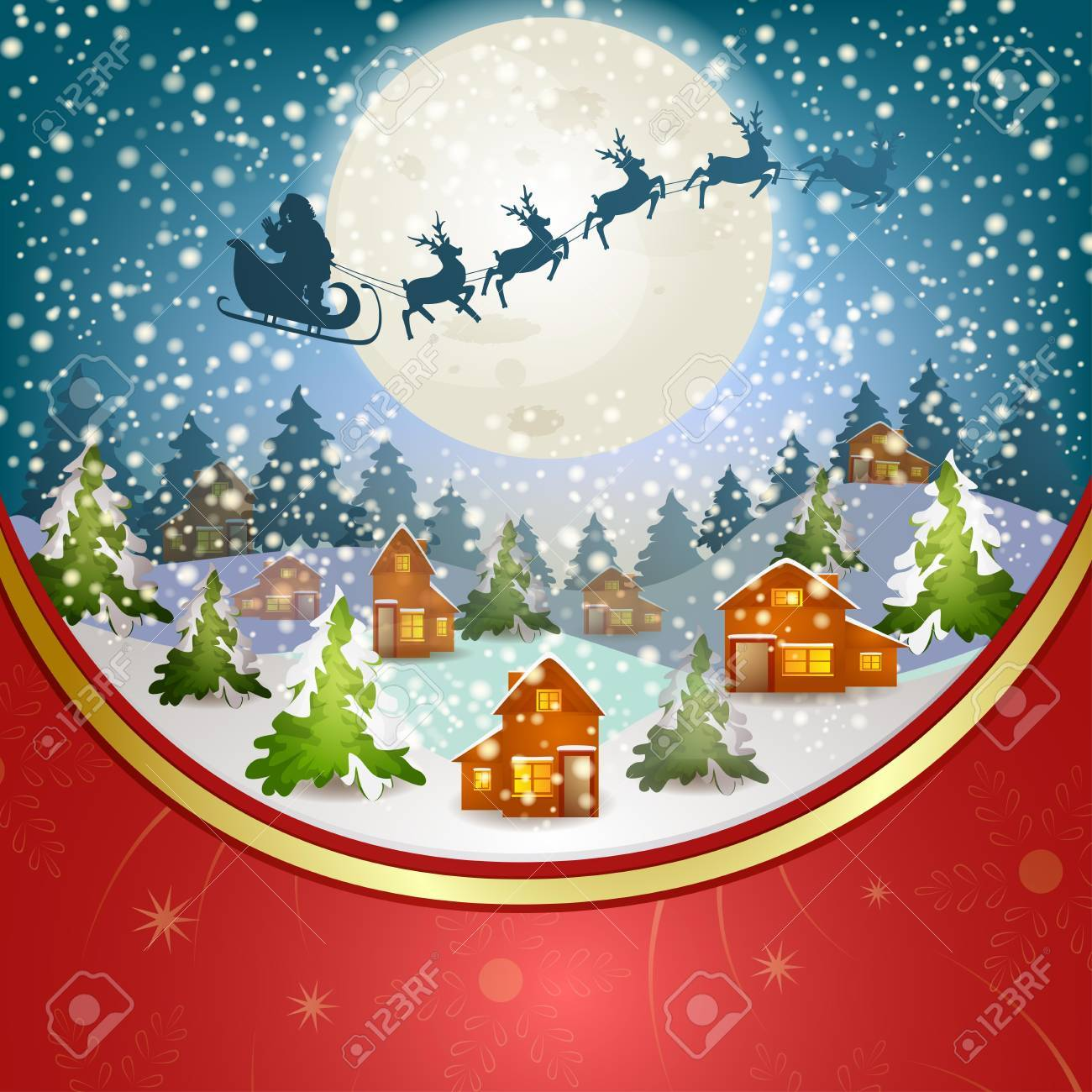 Winter landscape with Santa Claus s sleigh flying on the sky Stock Vector - 16658839