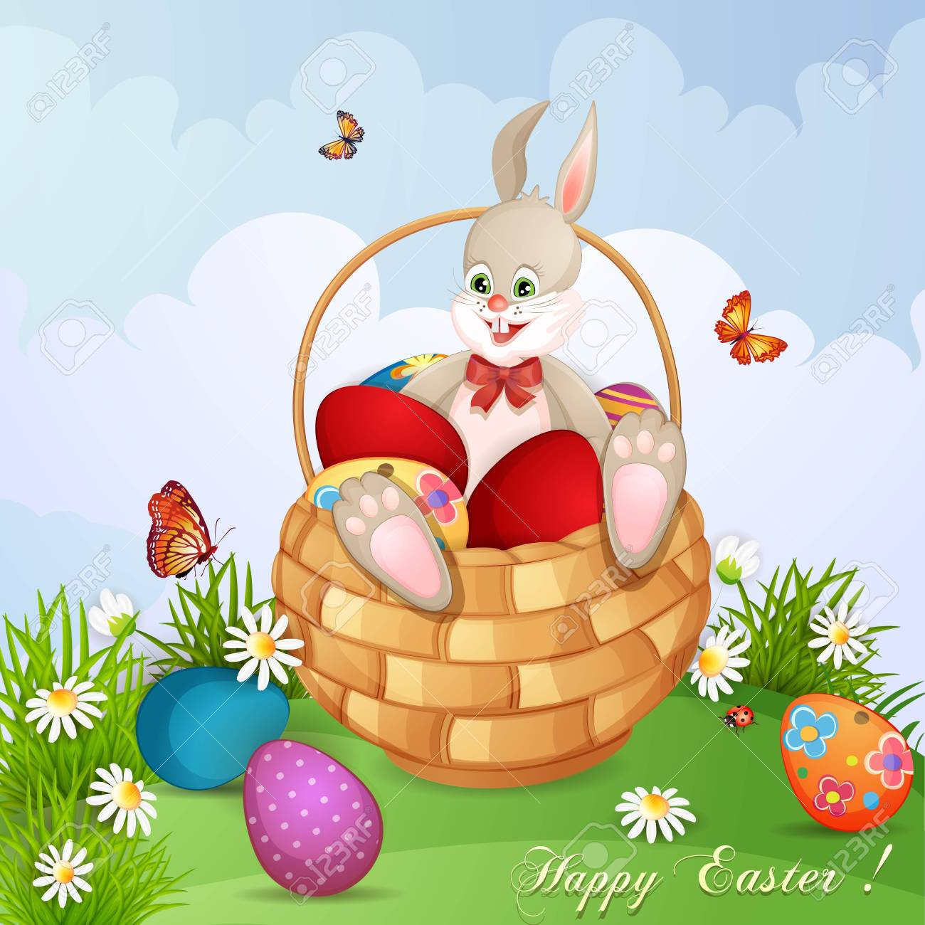 Easter greeting card with cute bunny in basket with Easter eggs Stock Vector - 18641157
