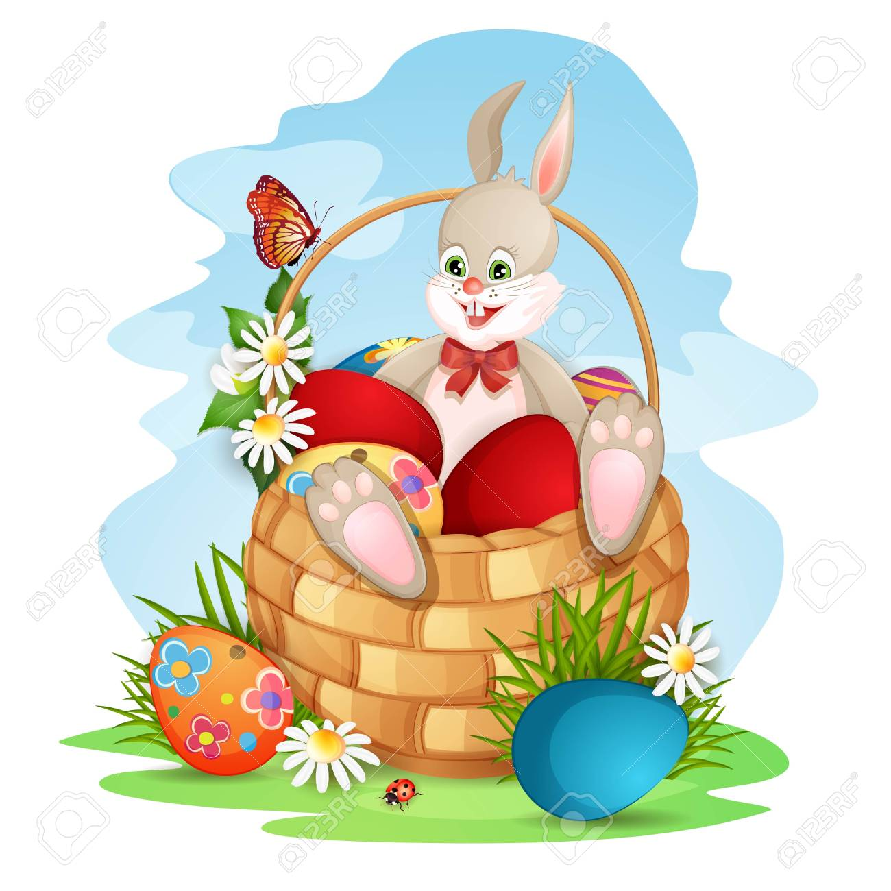 Easter greeting card with cute bunny in basket with Easter eggs Stock Vector - 18641158