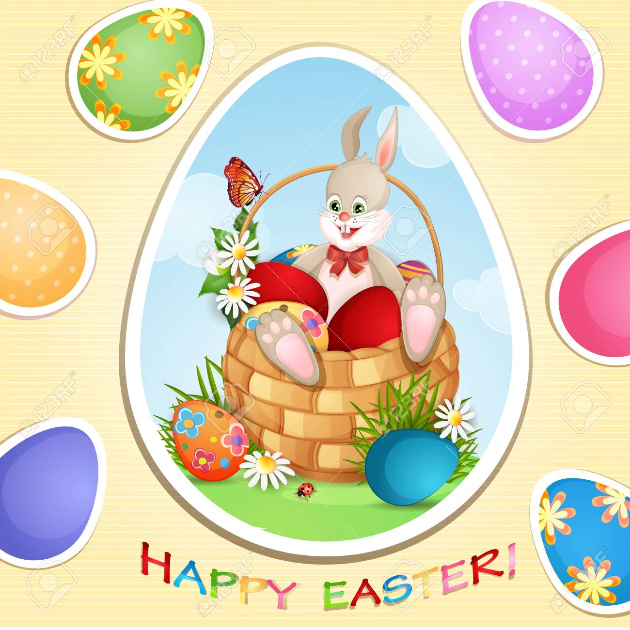 Easter greeting card with cute bunny in basket with Easter eggs Stock Vector - 18964481