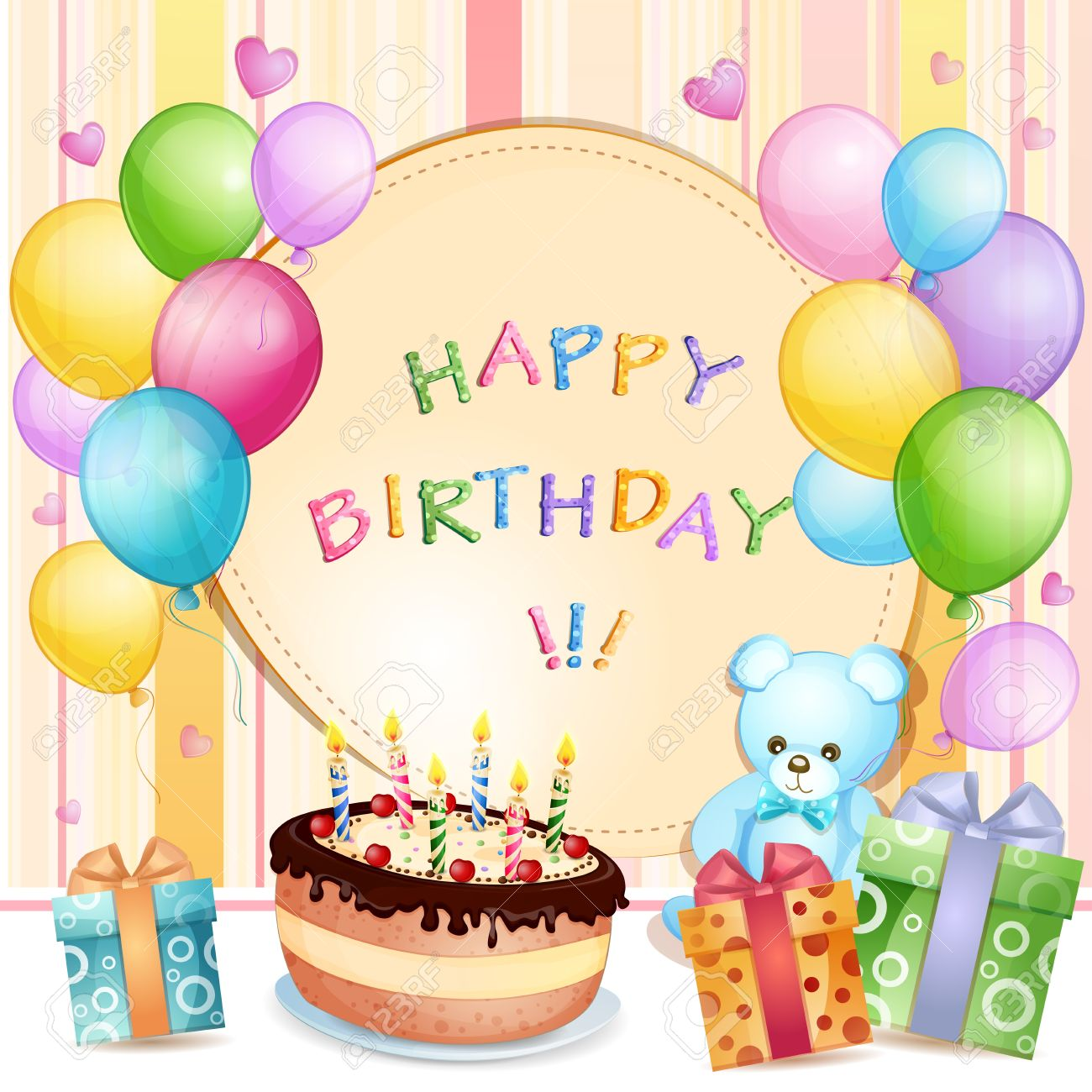 Birthday Card With Cake Balloons And Gifts Stock Vector