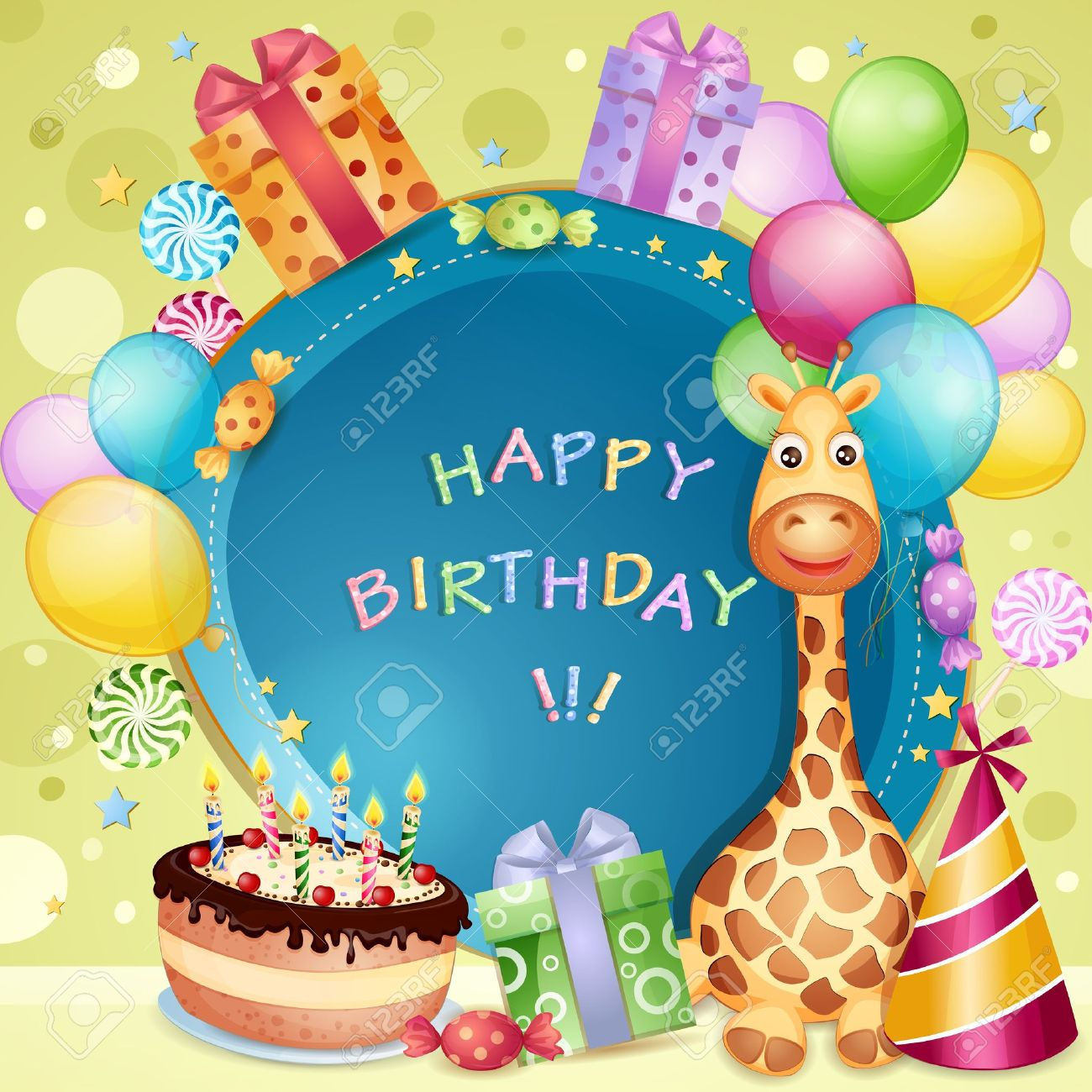 Birthday Card With Birthday Cake Balloons And Gifts Royalty Free