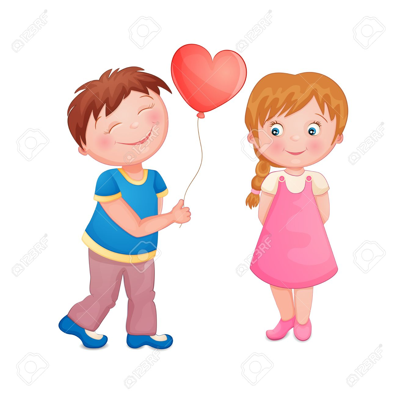 Cute boy giving a heart balloon on Valentine s day to a beautiful little  girl Stock 38c9b45818dfe