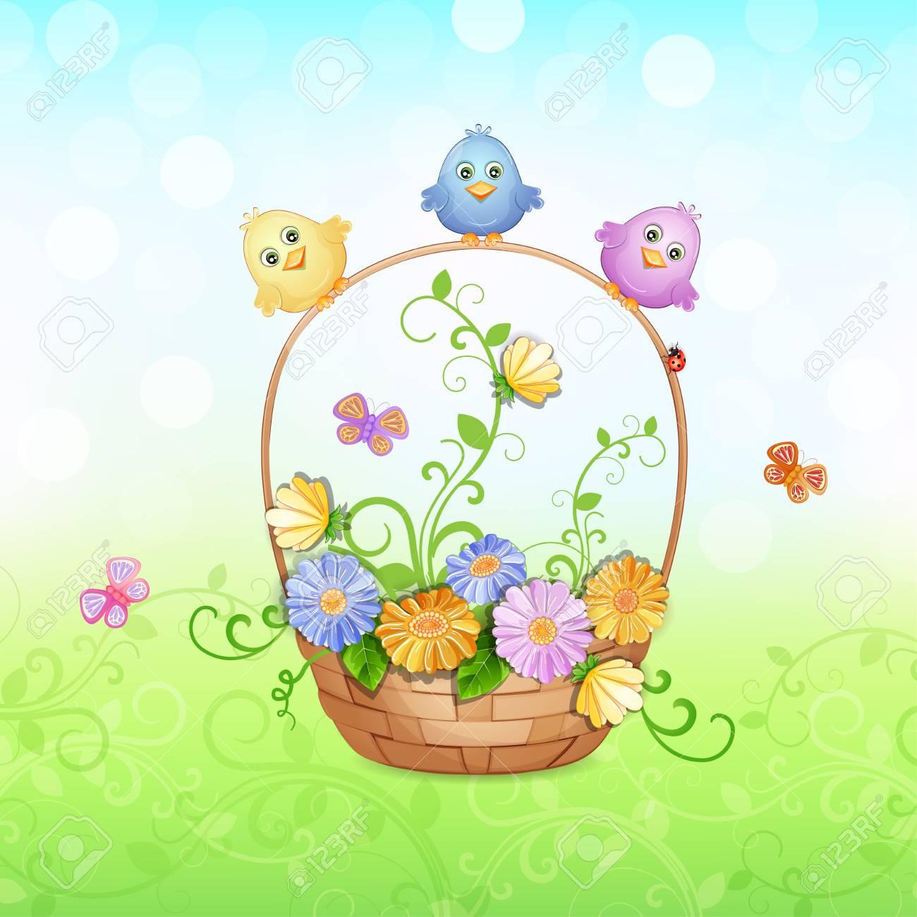美しいバスケットの花とかわいい鳥春のイラストのイラスト素材ベクタ
