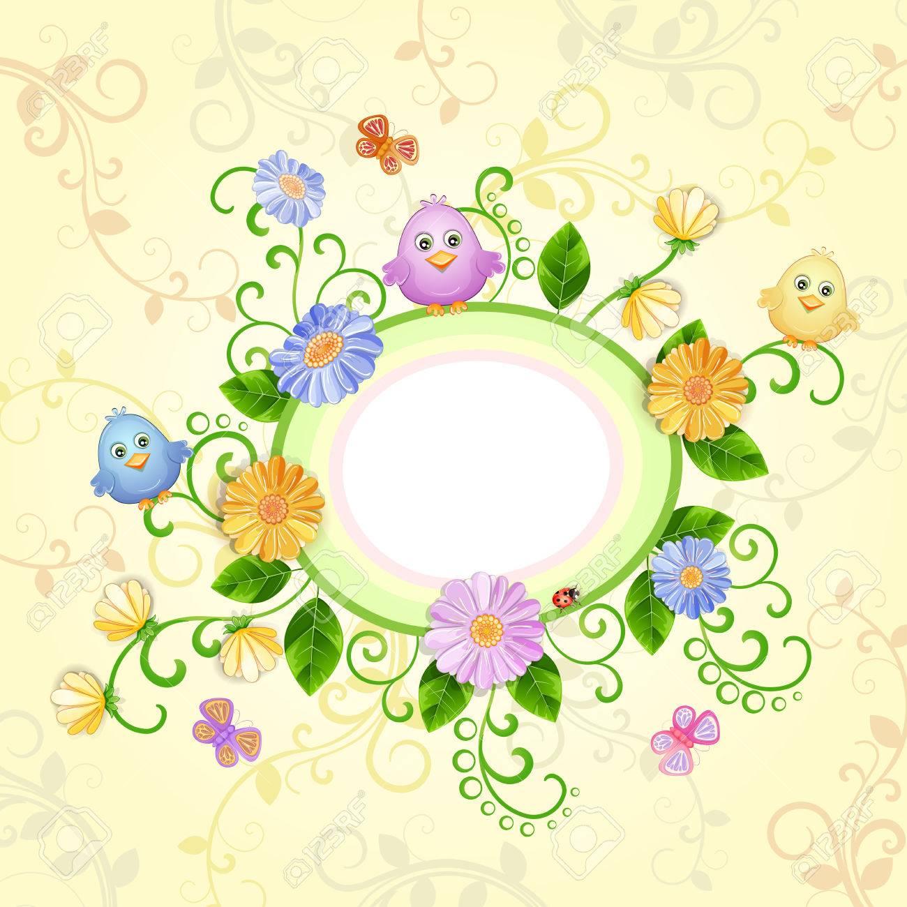美しい花とかわいい鳥と蝶春イラストのイラスト素材ベクタ Image