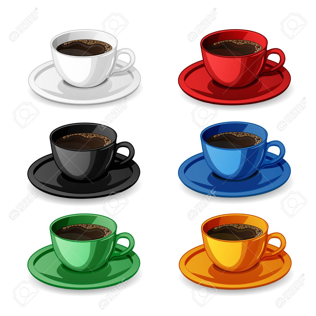 set of colorful coffee cups isolated on white royalty free