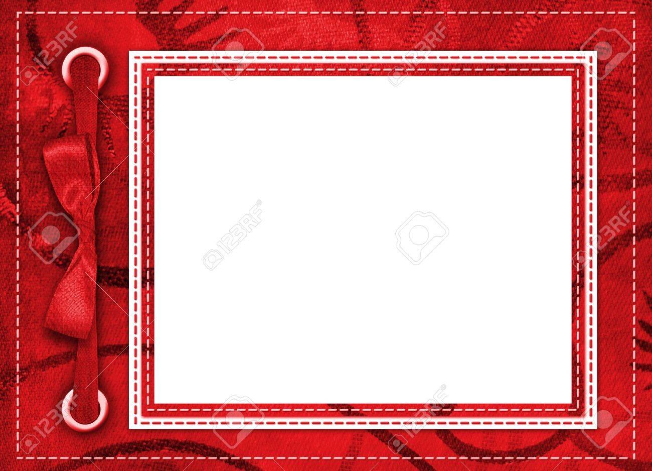 Rahmen Für Ein Foto Oder Einladungen. Eine Rote Schleife. Ein ...