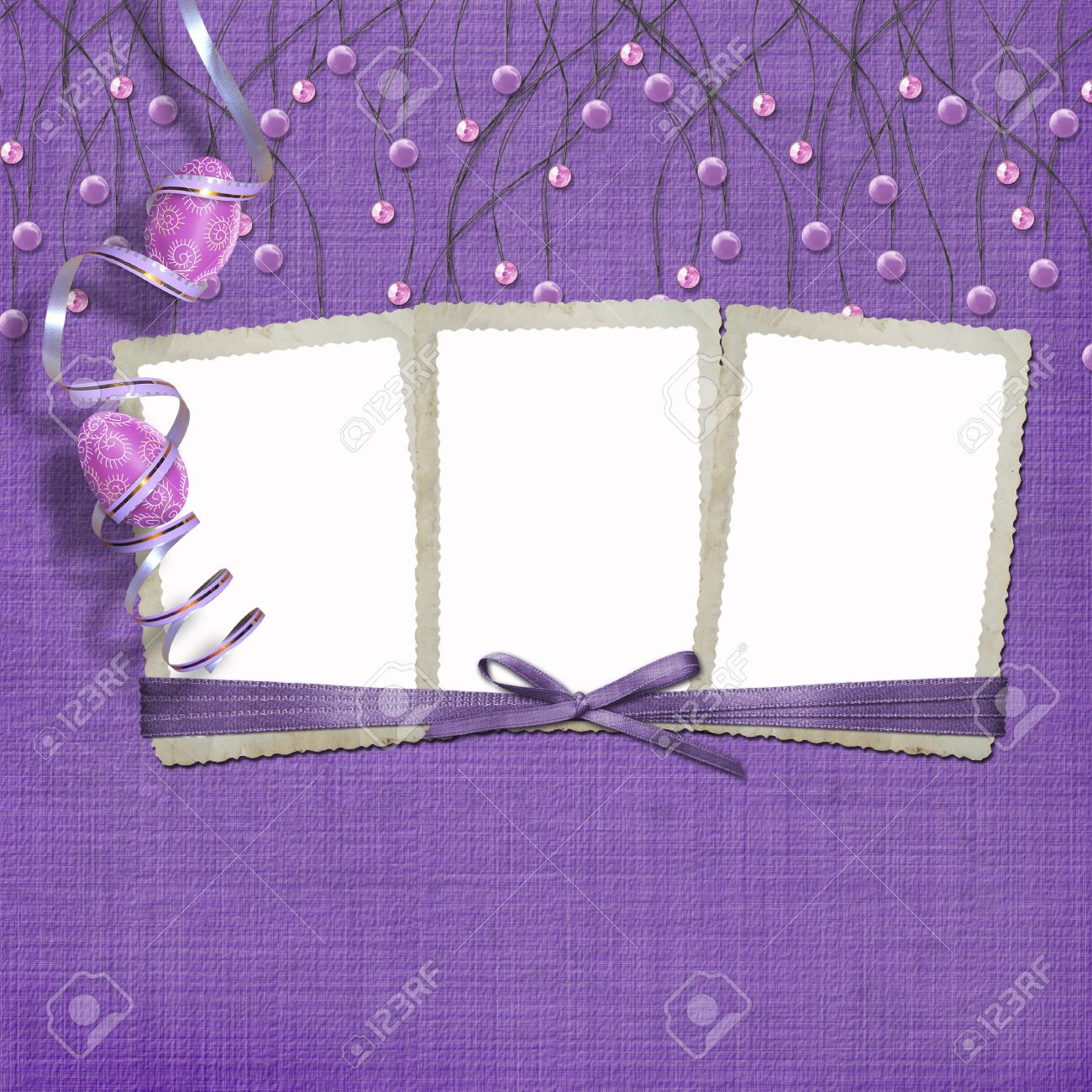 Easter Three Frames With Paint Eggs And Purple Beads Stock Photo ...