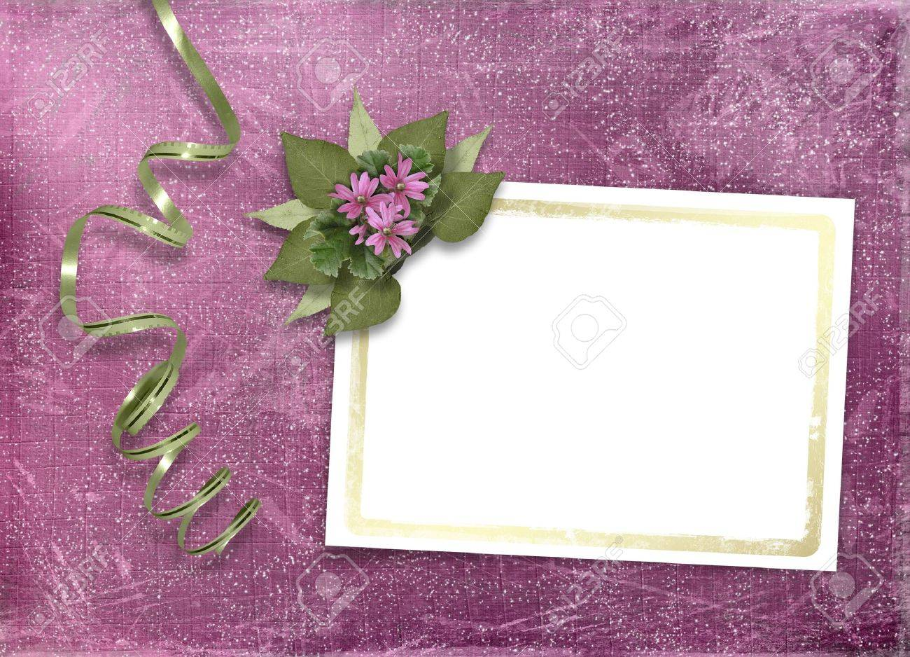 Postcard for invitation with gold frame and floral branch Stock Photo - 4746931