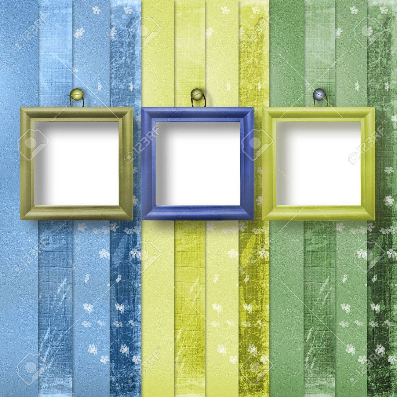 Three wooden frameworks for portraiture on the abstract background Stock Photo - 4947567