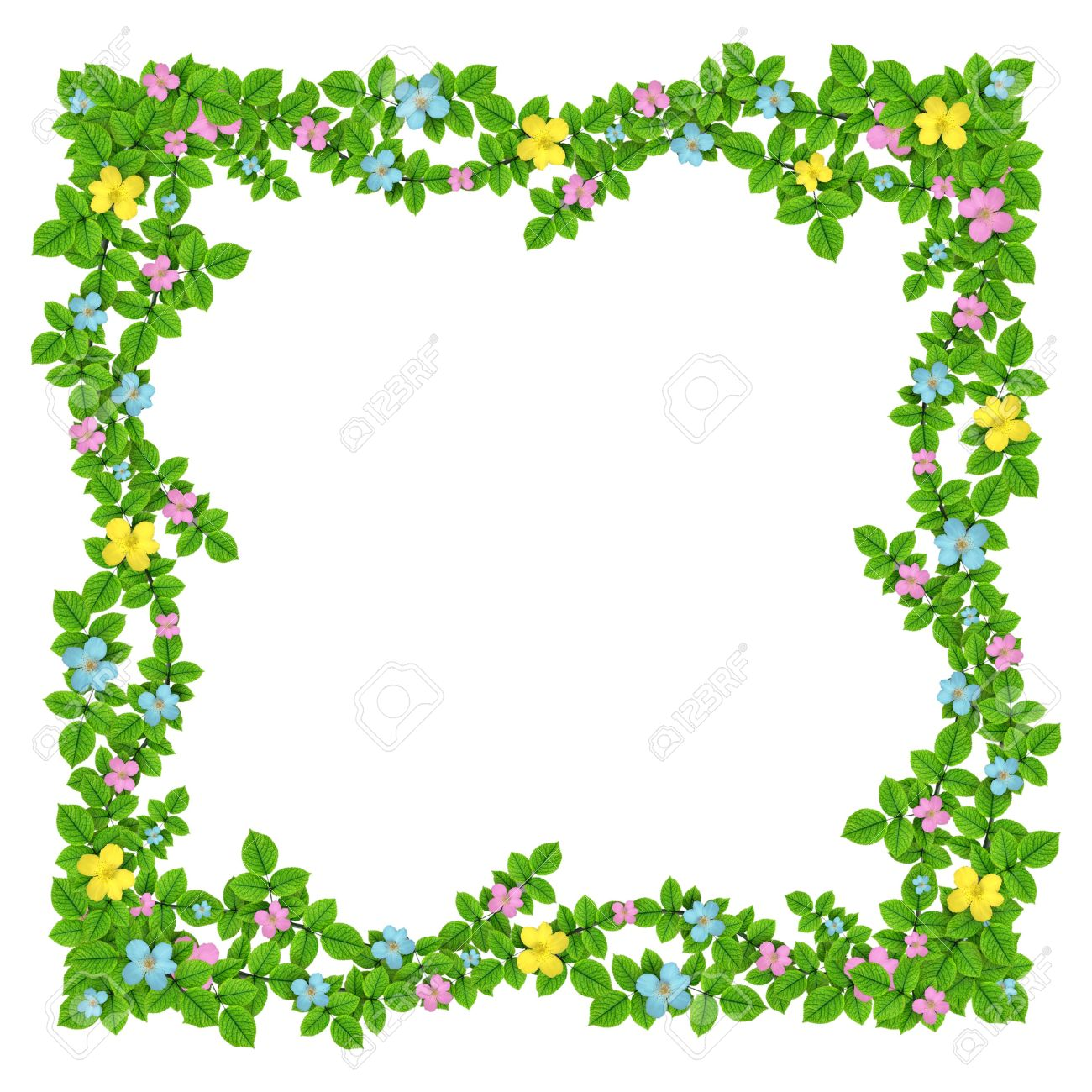 Frame Of Flowers Garland On The White Isolated Background Stock ...