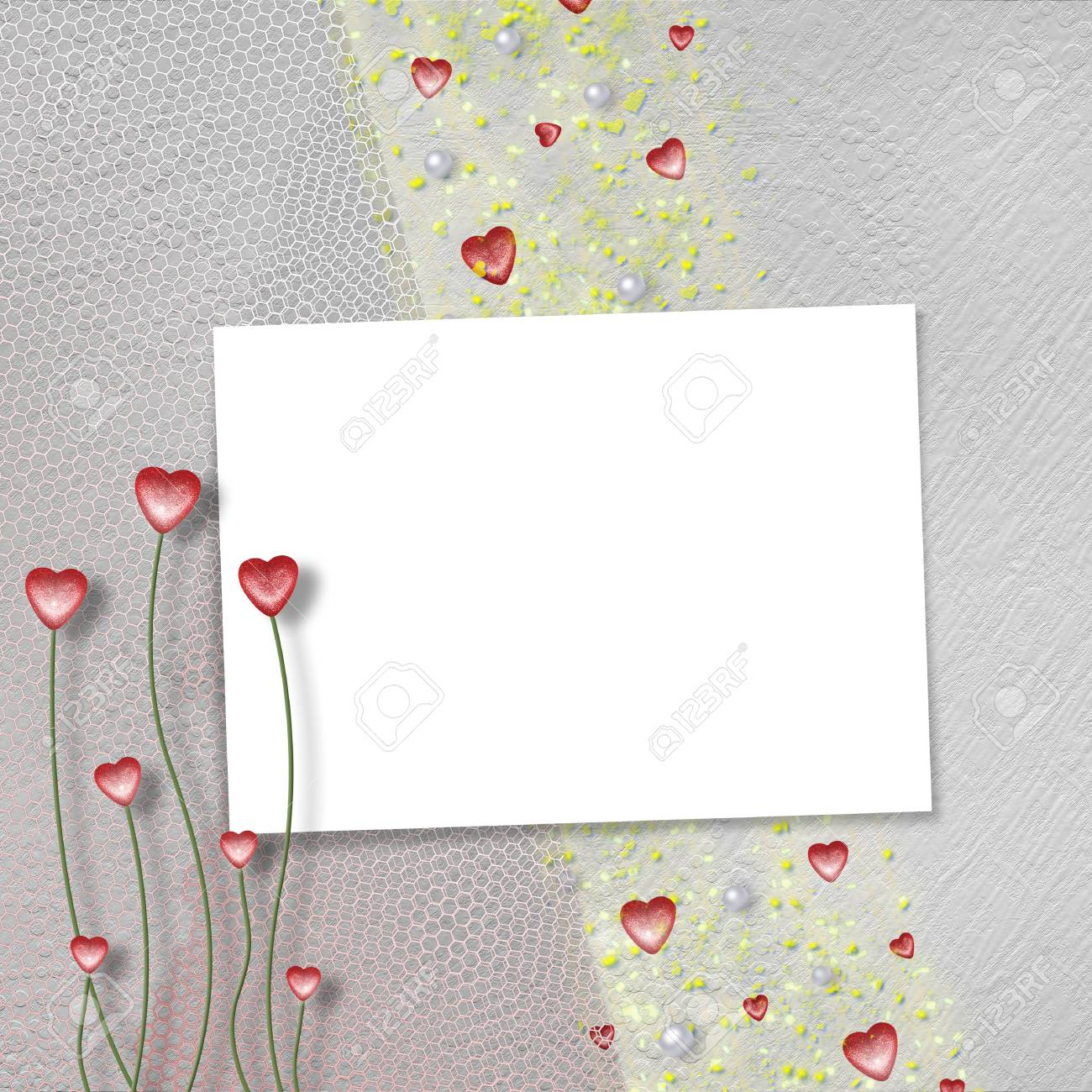 Card for anniversary or congratulation with  pearls and  hearts Stock Photo - 5110899