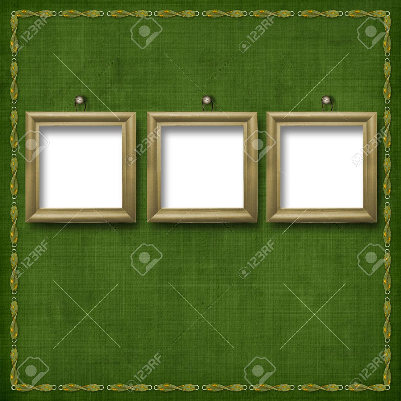Three wooden frameworks for portraiture on the abstract background Stock Photo - 5177624