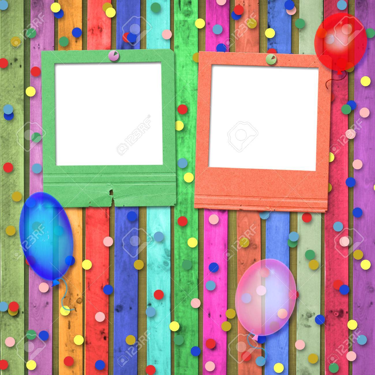 Old slides with balloons and confetti on the abstract background Stock Photo - 5300617