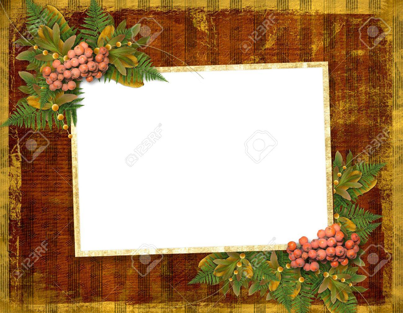 Old grunge card on the abstract background with autumn leaves Stock Photo - 5500943