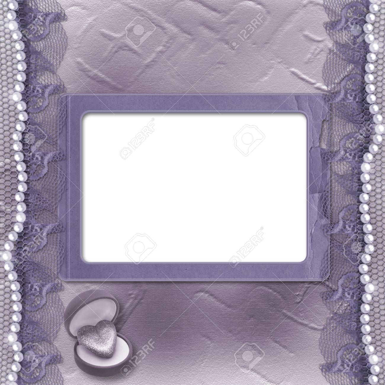 Grunge lilac card for invitation or congratulation with pearls and lace Stock Photo - 5552810