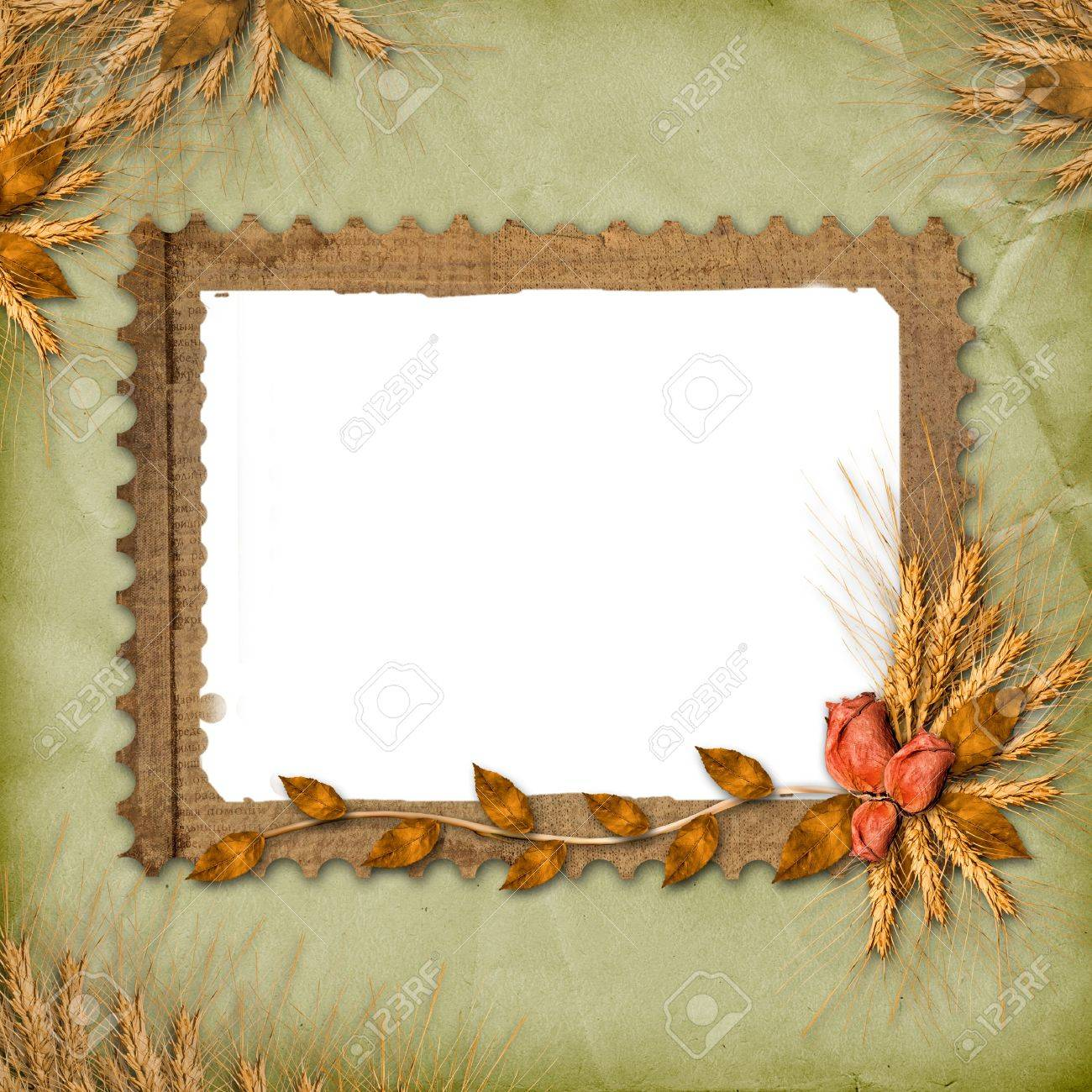 Grunge frame in scrapbooking style with bunch of rose Stock Photo - 5648752