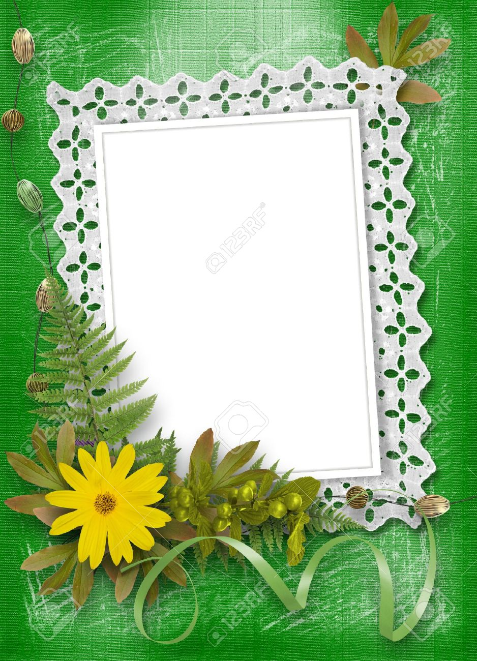 lace frame with ribbons and beads Stock Photo - 5664146