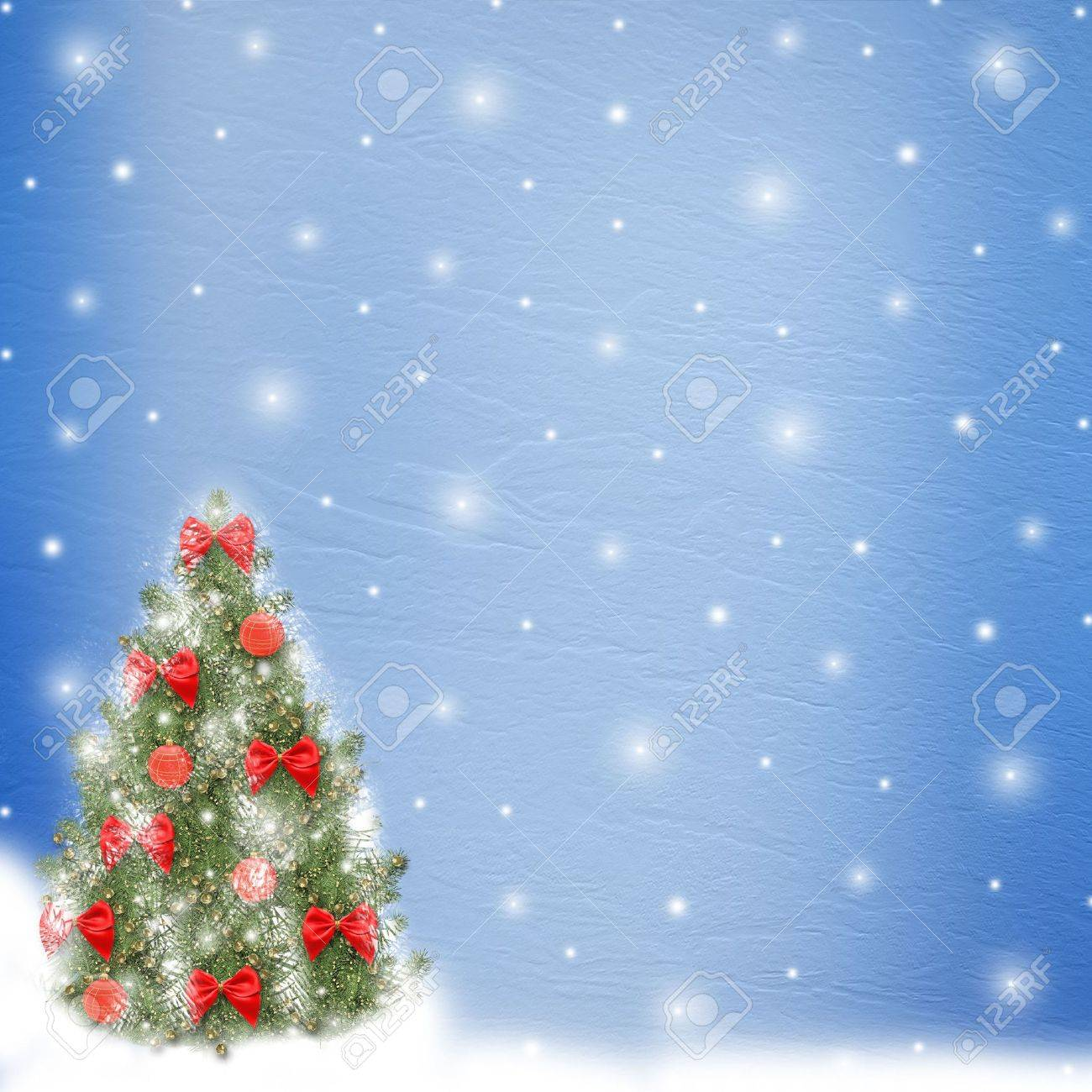 Card for congratulation. Christmas tree with balls and bows Stock Photo - 5988684