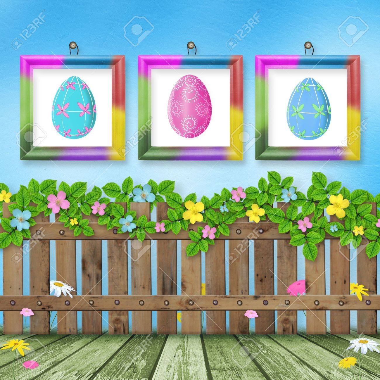Pastel background with colored eggs to celebrate Easter Stock Photo - 6442106