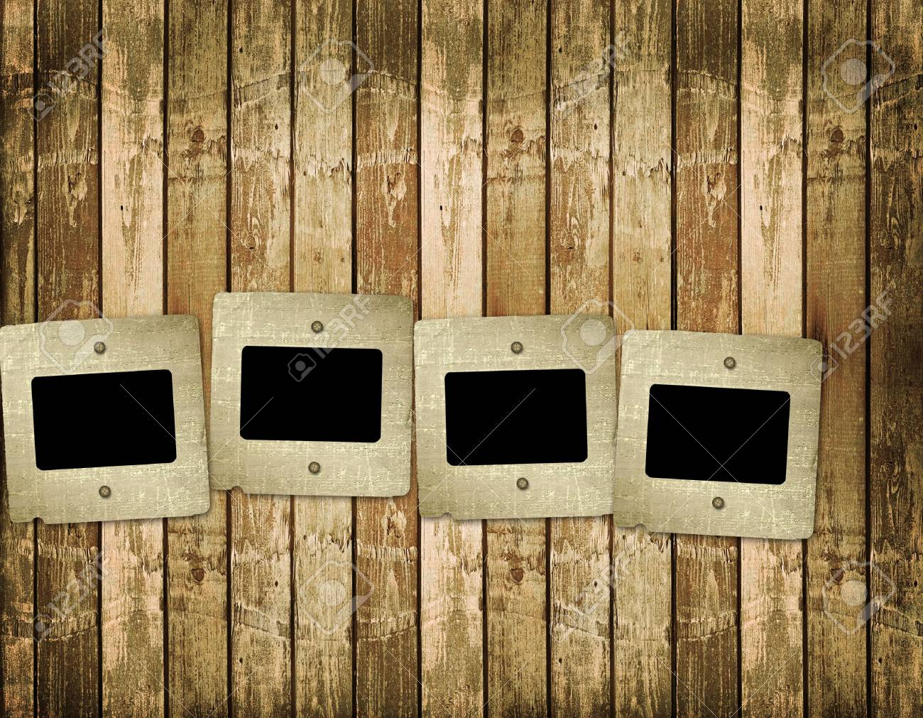 Old slides on the abstract wooden background Stock Photo - 6505630
