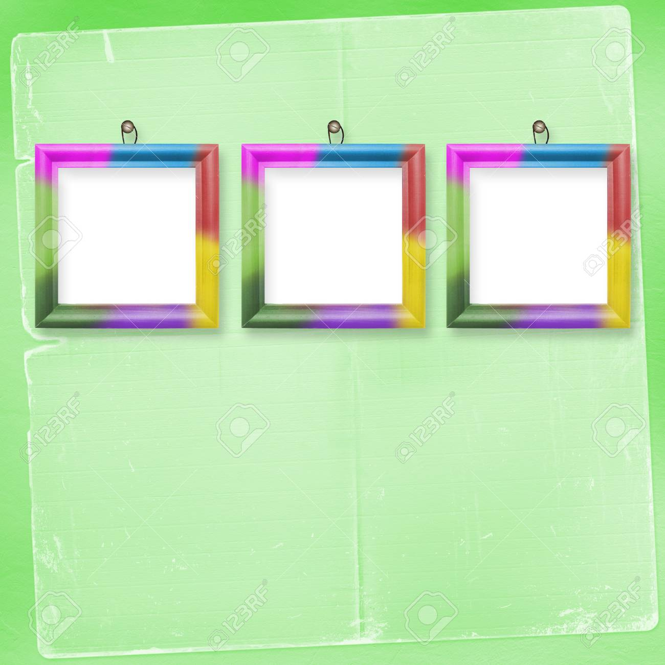 Three multicolored frames for photos on the bright background Stock Photo - 6505635
