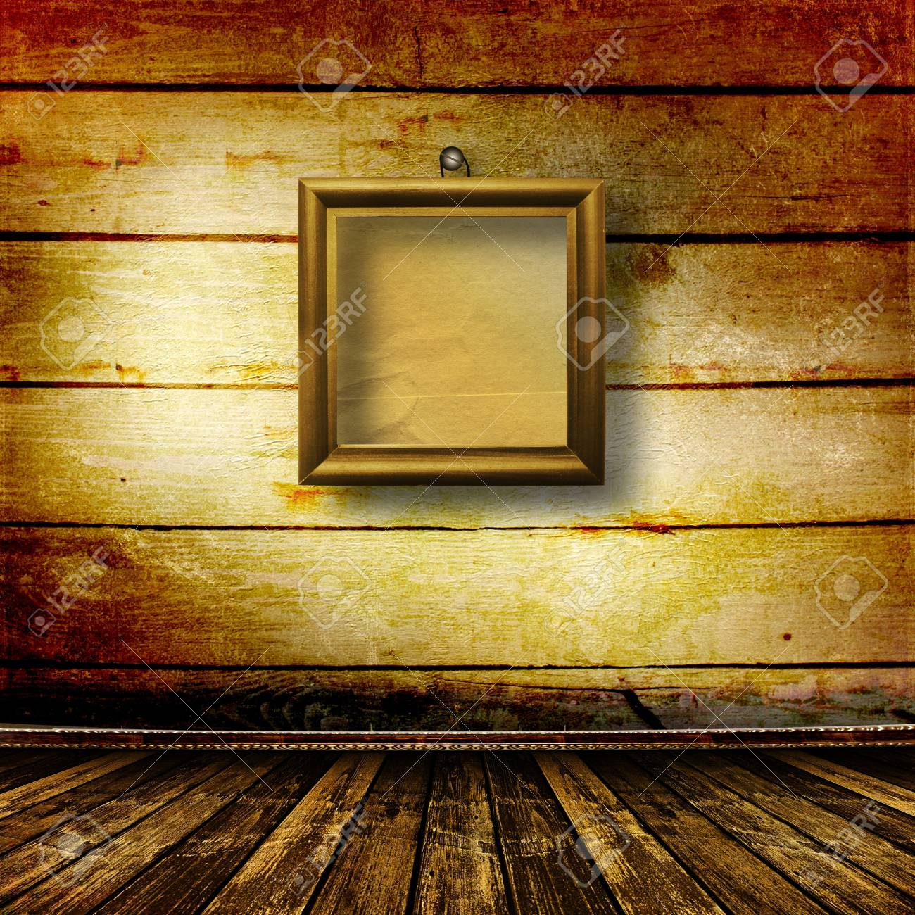 Old room, grunge  interior with frames in style baroque Stock Photo - 6775874