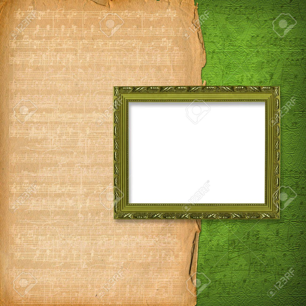 grunge wooden frames on the abstract musical background Stock Photo - 6852837
