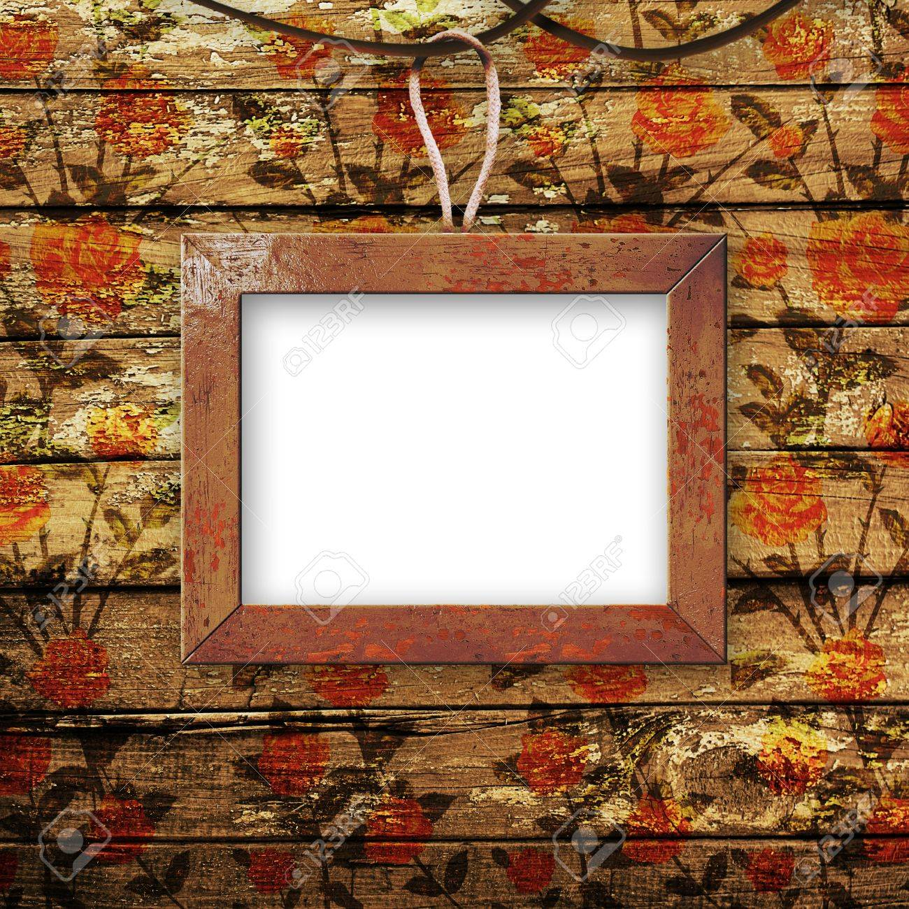Old room, grunge  interior with frames in style baroque Stock Photo - 6960351