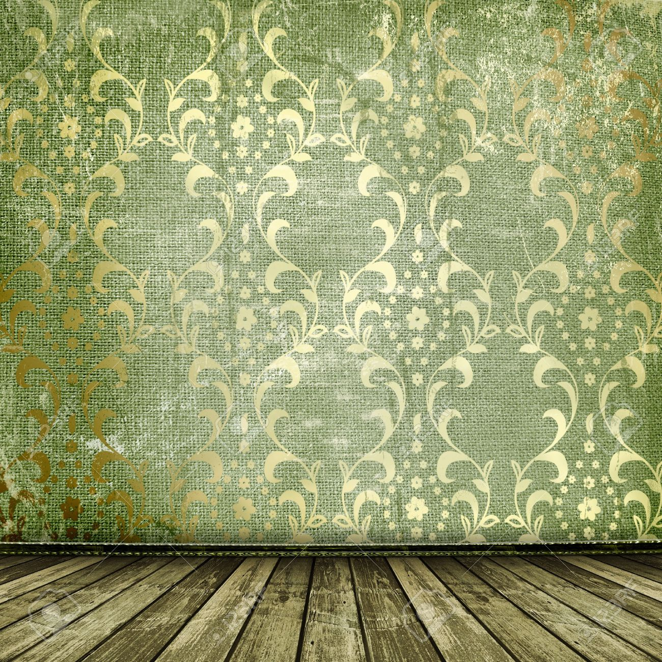 Old Gold Frames Victorian Style On The Wall In The Room Stock Photo ...