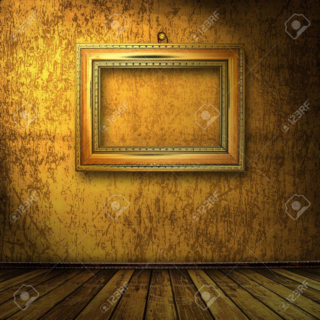grunge  interior with frame in style baroque Stock Photo - 7249627