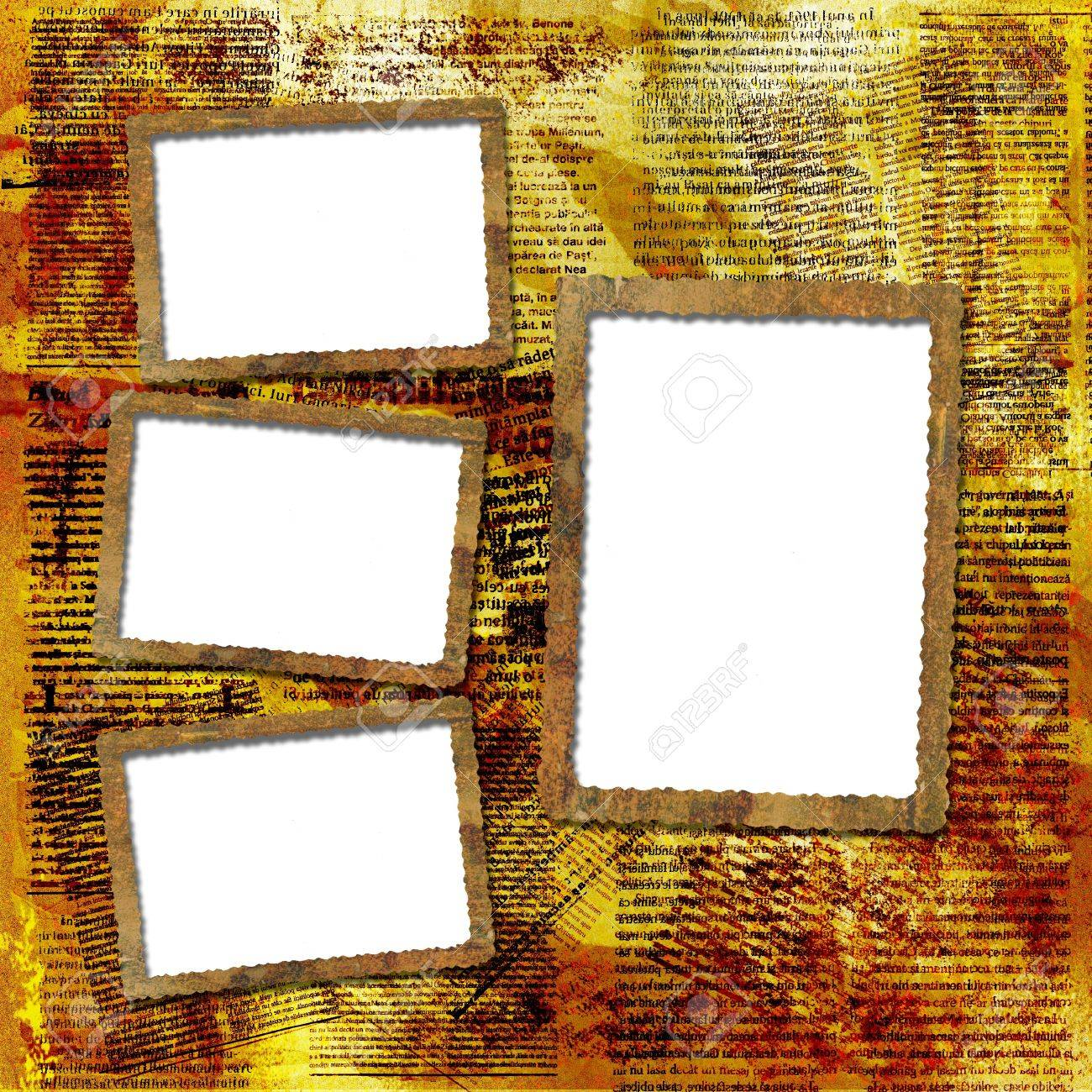 Grunge Frames For Album The Newspaper Background Stock Photo ...