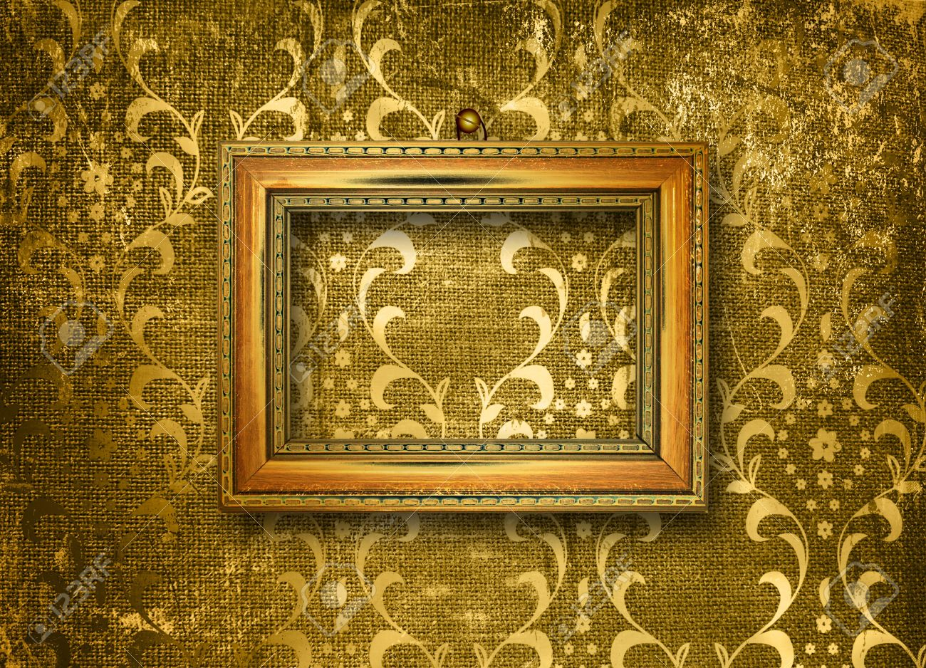 Old Gold Frame Victorian Style On The Wall In The Room Stock Photo ...