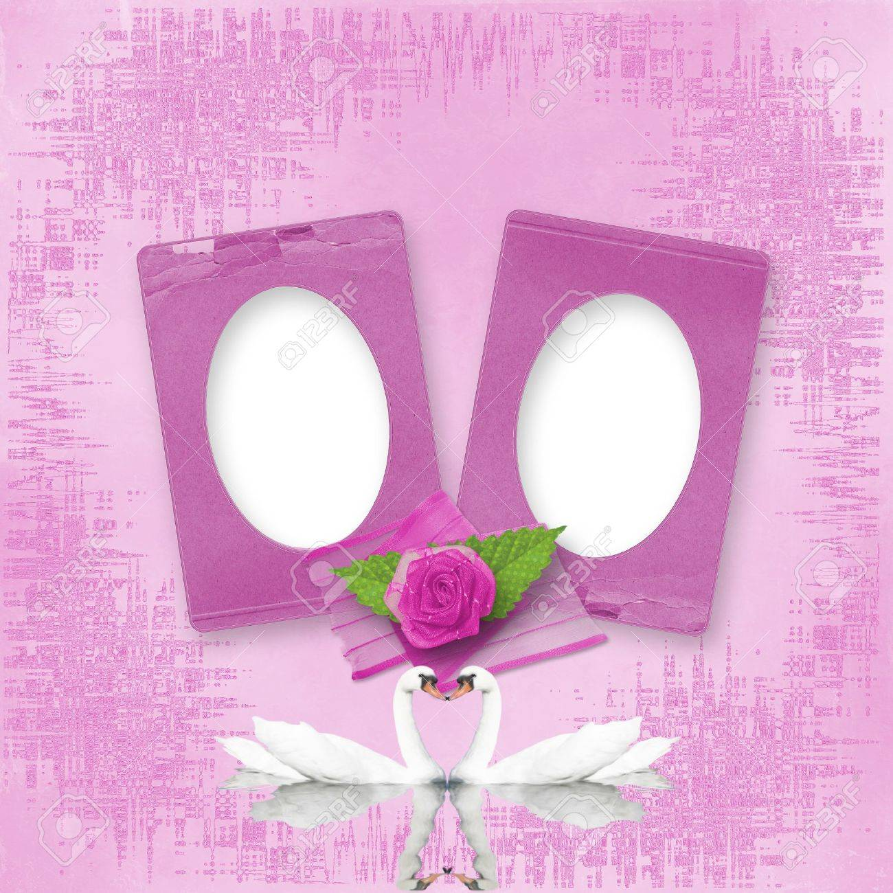 greeting card to wedding with frames on the pink background stock photo - Wedding Picture Frames