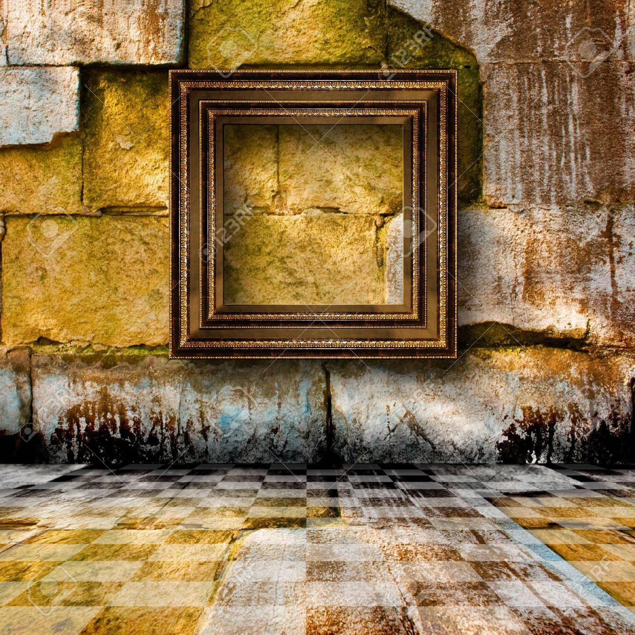 The old stone room with wooden picture frames in Victorian style Stock Photo - 8851337