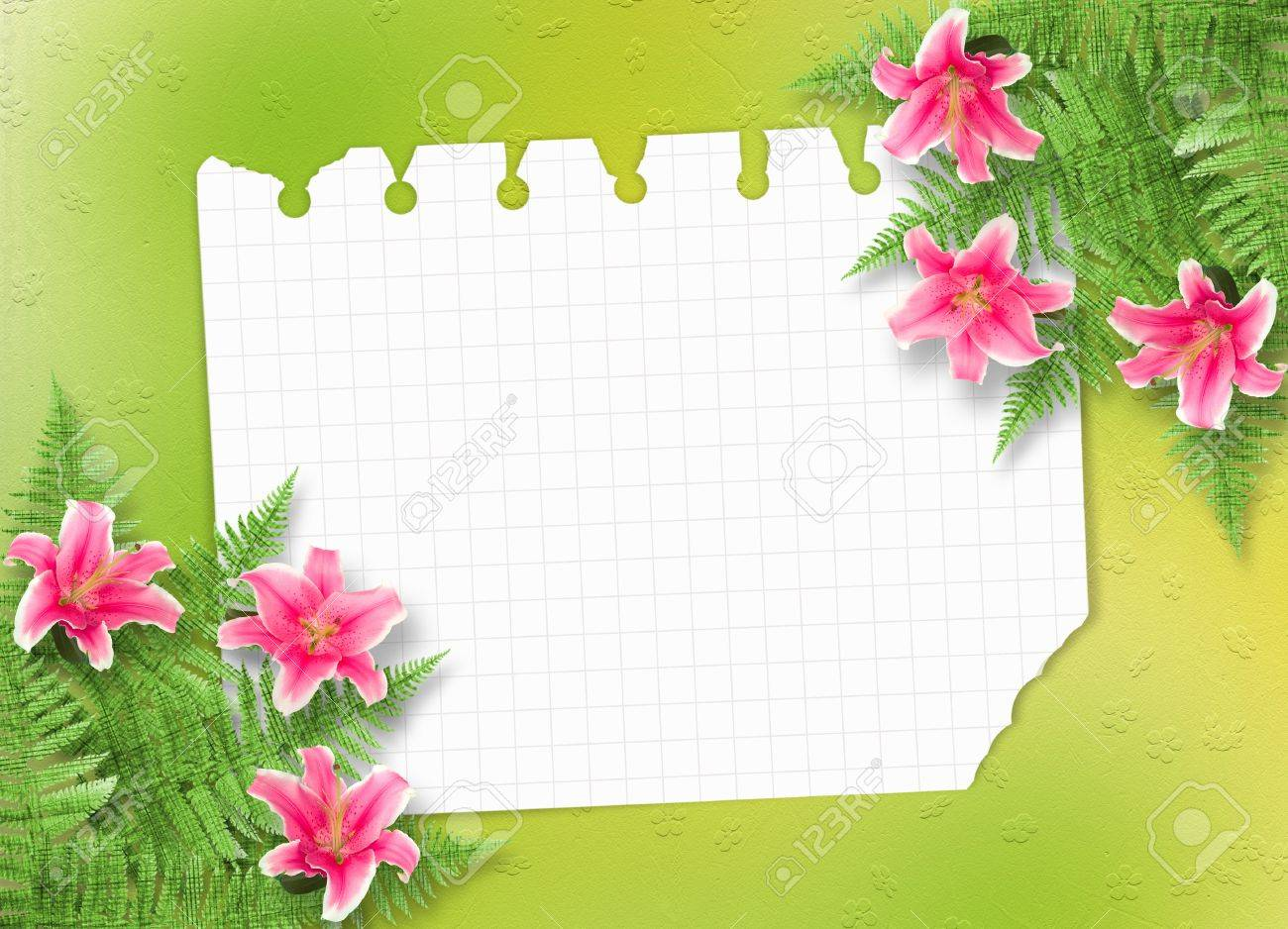 Card for invitation or congratulation with pink lilies Stock Photo - 9035656