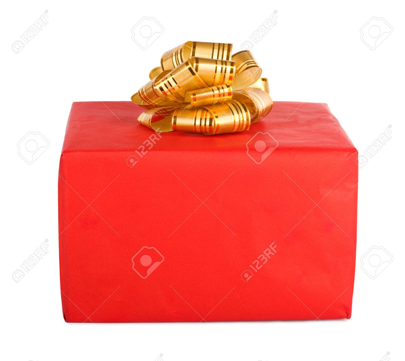 Holiday gift box decorated with ribbon isolated on white background. Stock Photo - 9238472