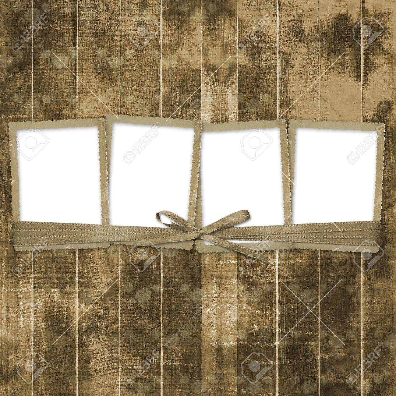 Four Frames With Ribbons And Bow To Old Photos Stock Photo, Picture ...