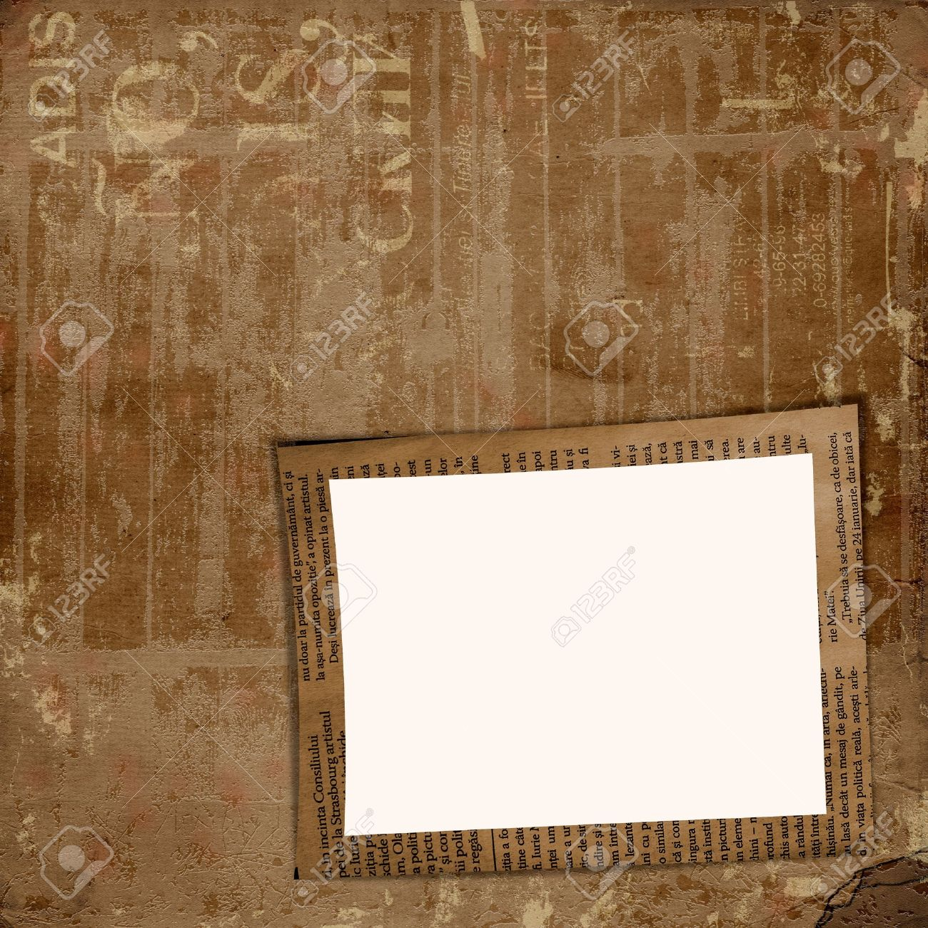 grunge cover for album or portfolio on the newspaper background with frame stock photo 12313537