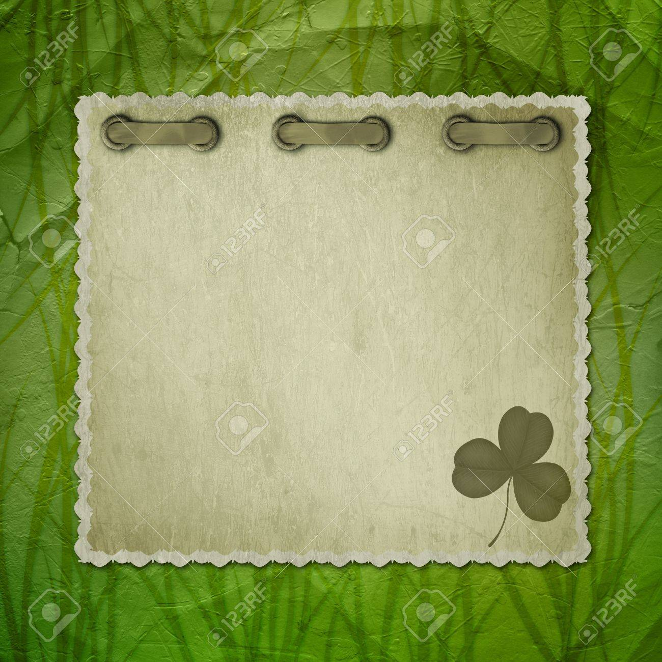 Grunge green background with ancient ornament for St. Patrick's Day Stock Photo - 12313596