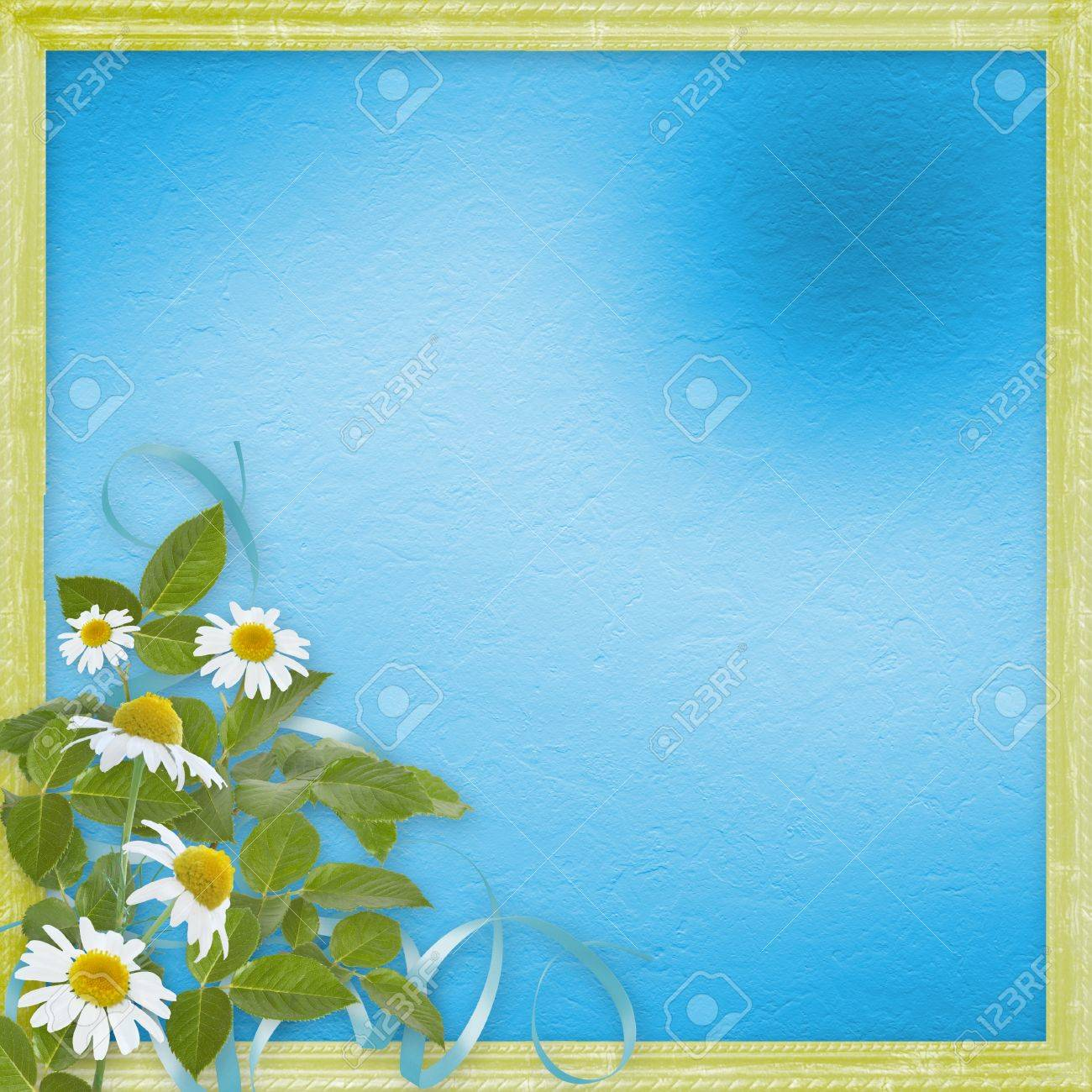 grunge frames with beautiful daisy for design stock photo 12313779