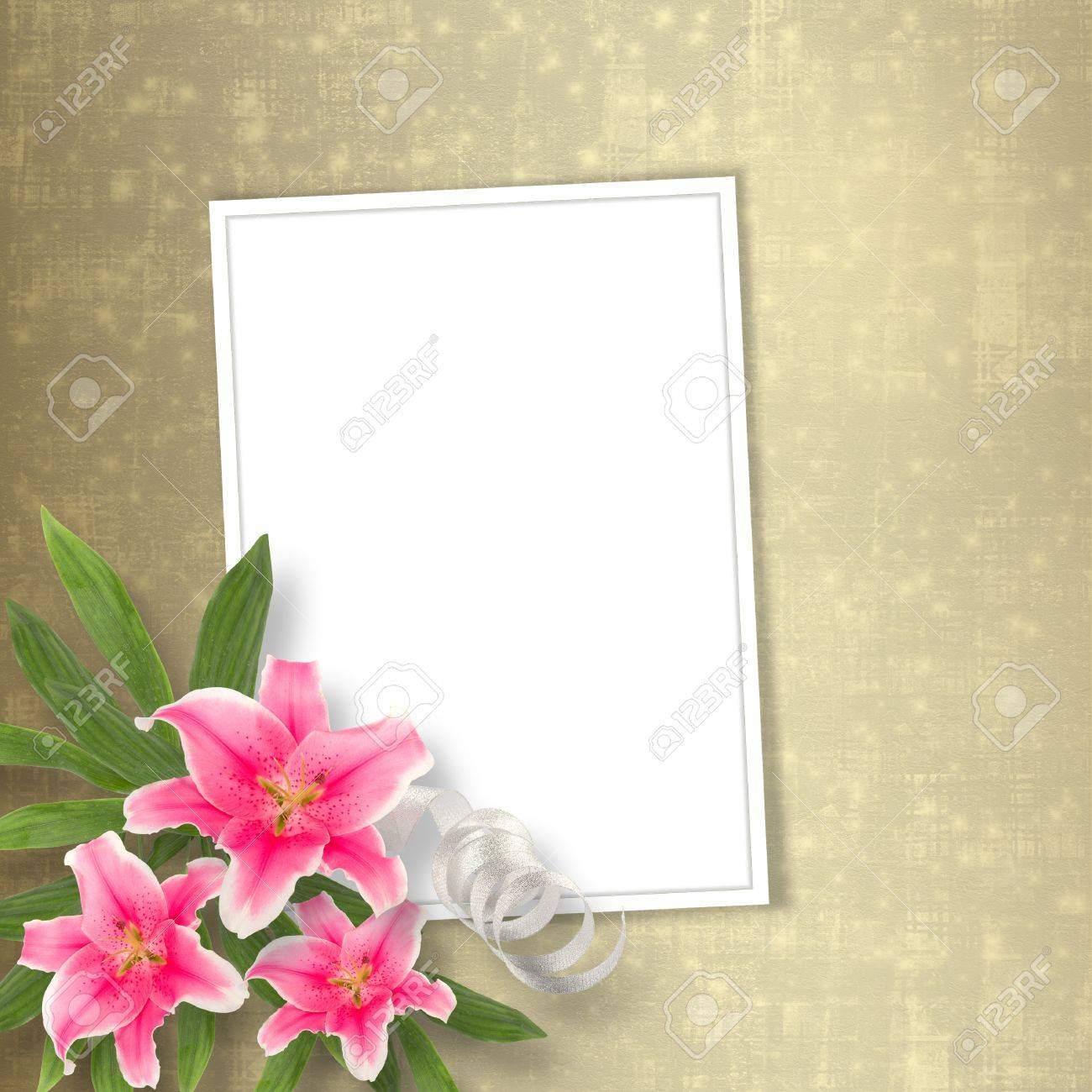 Card for congratulation or invitation with bunch of flowers Stock Photo - 12313864