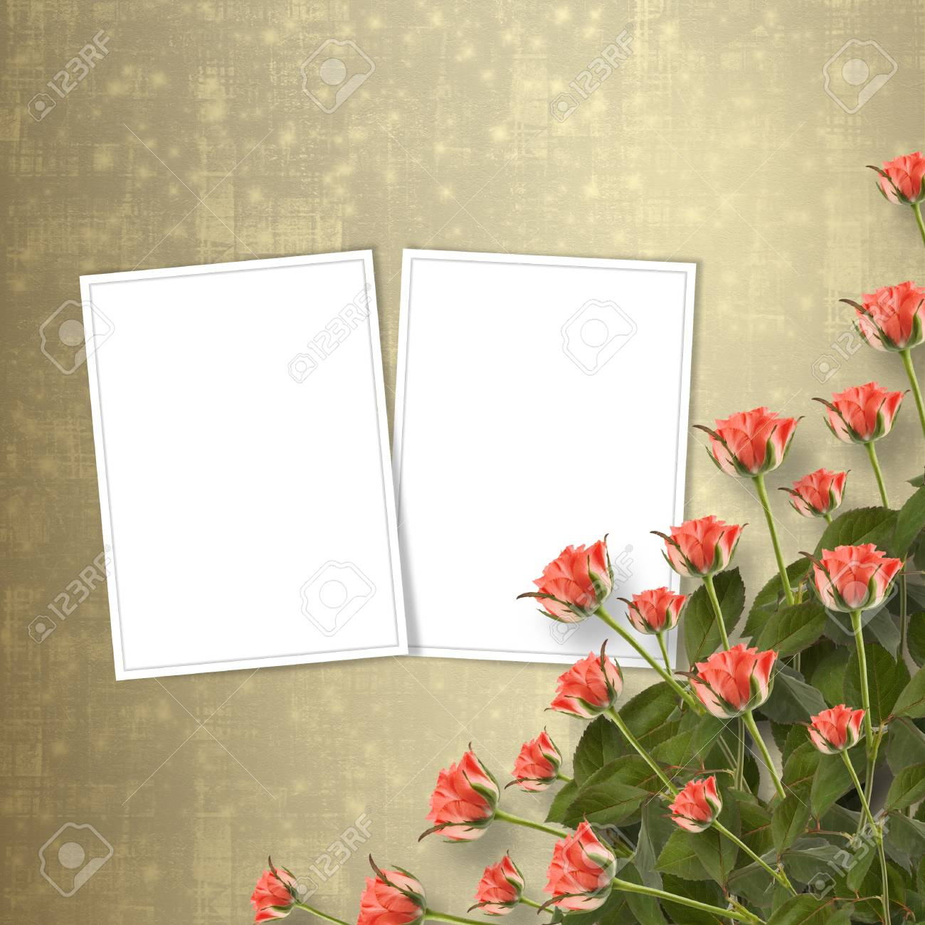 Card for congratulation or invitation with bunch of flowers Stock Photo - 12313938
