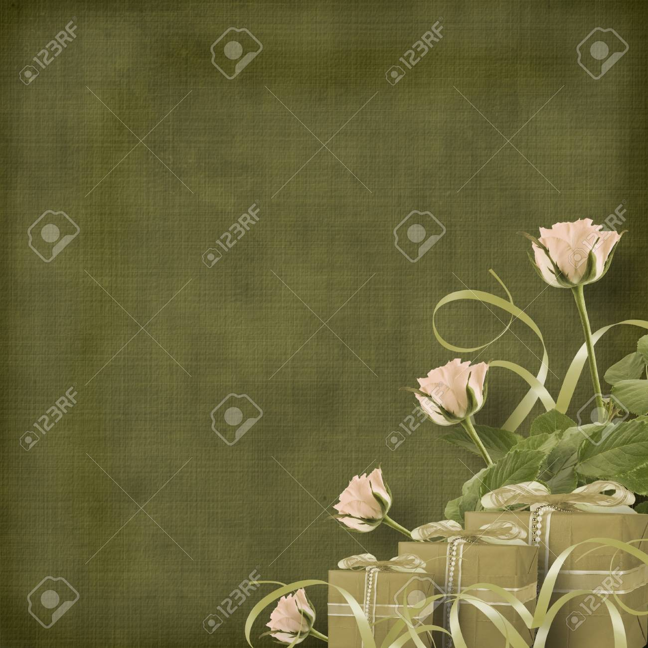 Vintage postcard for congratulation with roses and gifts Stock Photo - 12664652